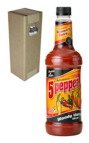 Master of Mixes 5 Pepper Extra Spicy Bloody Mary Drink Mix, Ready to Use, 1 Liter Bottle (33.8 Fl Oz), Individually Boxed
