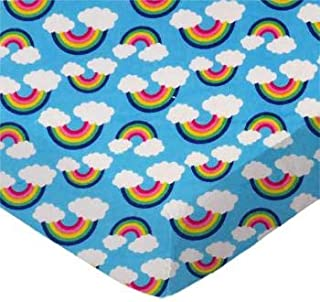 product image for SheetWorld 100% Cotton Flannel Flat Crib Toddler Sheet 28 x 52, Rainbows Blue, Made in USA