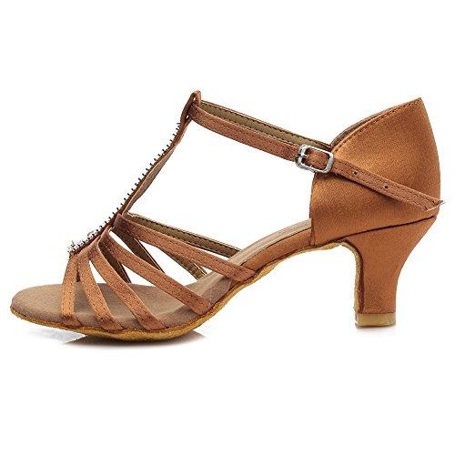 HROYL Mujer Zapatos de Baile Latino Satin Salón de Baile 227 Marrón