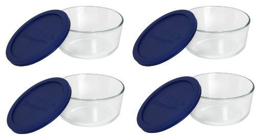 Pyrex Storage 4 Cup Round Dish, Clear with Blue Lid, Pack of 4 Containers