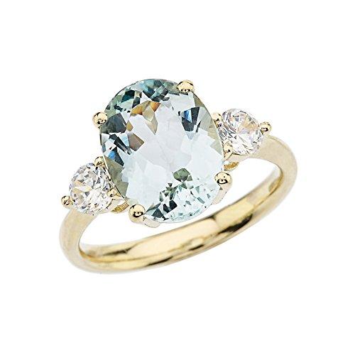 - Elegant 10k Yellow Gold Sky Blue Aquamarine with White Topaz Engagement/Proposal Ring (Size 6.25)