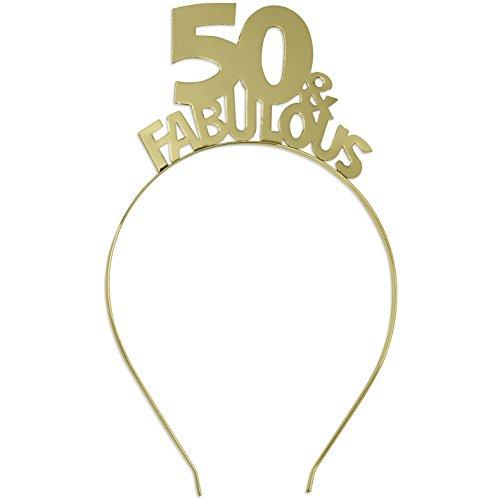 50 & Fabulous Gold Headband - Birthday Tiara Headband for Women - 50th Birthday Gift HdBd(50FAB) GLD
