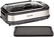 PowerXL Smokeless Grill with Tempered Glass Lid with Interchanable Griddle Plate and Turbo Speed Smoke Extract