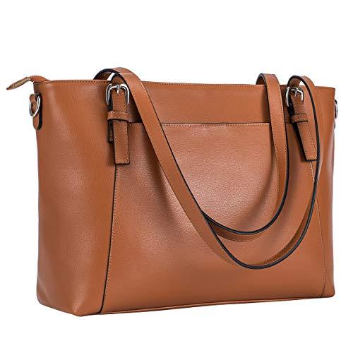 - S-ZONE Genuine Leather Large Tote for Women Shoulder Bag Handbag Purse (Brown)