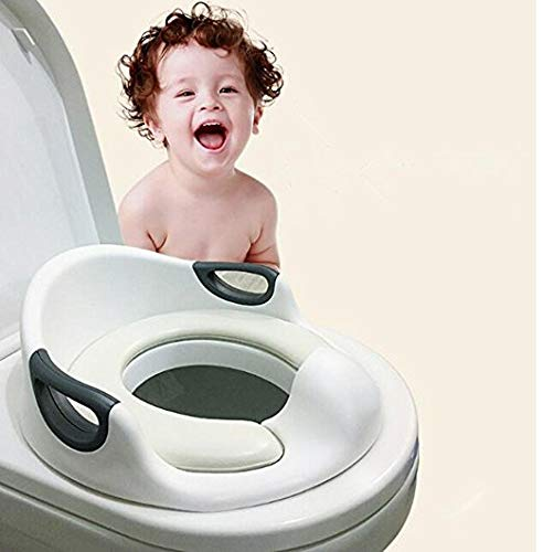 Potty Training Seat For Kids Boys Girls Toddlers Toilet Seat For Baby With Cushion Handle And Backrest Toilet Trainer For Round And Oval Toilets (White)