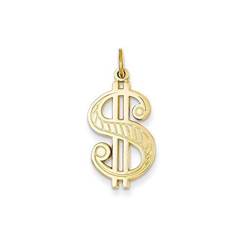 14k Gold Dollar Sign Charm Pendant (1.02 in x 0.47 (14k Gold Dollar Sign)