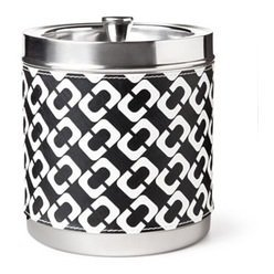 (Diane Von Furstenberg Black and White Chain Link Stainless Steel Ice Bucket)