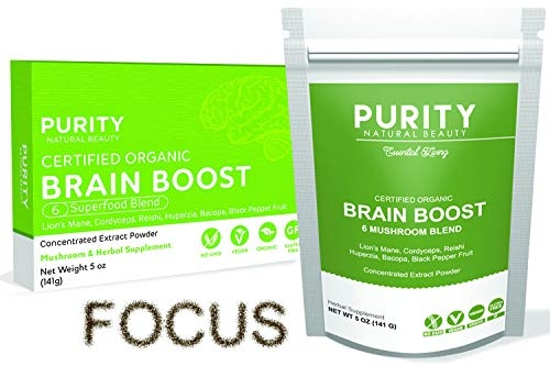 Brain Boost Nootropics Powder Blend (110 Servings) - 6 Mushroom Nootropic Powder Focus Supplement, Bonus Bamboo Spoon