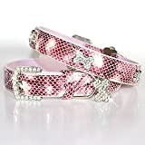 """The Wild Thing"" 122 Swarovski crystals jewelled Python Print Leather Dog Collar - Pink / Small (8""-12"")"