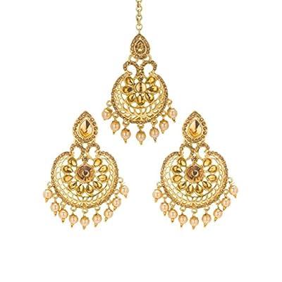nice Bindhani Wedding Indian Bollywood Bridal Head Jewelry Maang Tikka Mang Tika Earrings For Women for sale