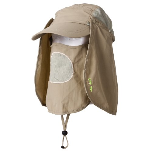 9f206345497 Outdoor Fishing Hiking Hunting Amy Camo Hat with Side Mesh Cap with Neck  Flap   Face Mask Cover for Maximum Sun Protection (Khaki) - Buy Online in  UAE.