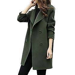 Sunhusing Women S Autumn Winter Long Woolen Coat Double Breasted Slim Parka Cardigan Overcoat