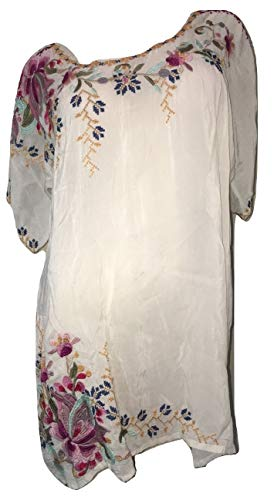Johnny Was Women's Alyssa Floral-Embroidered Long Georgette Tunic, Shell, Medium ()