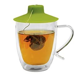 Primula Double Wall Glass Mug and Tea Bag Buddy – Temperature Safe 16 oz. Clear Glass Mug – 100% Food Grade Green Silicone Tea Bag Buddy – Dishwasher and Microwave Safe Set