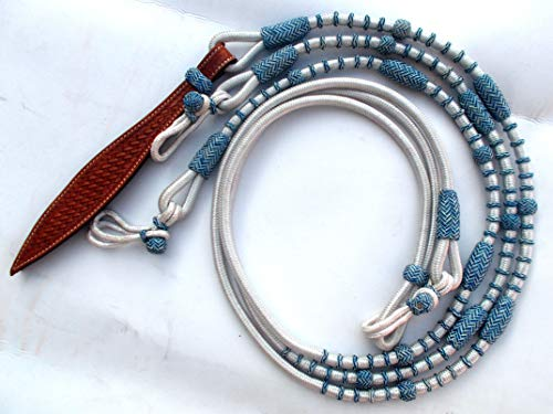 (New White Synthetic Romal Reins Nylon Covered by Blue Natural Rawhide Tack SRR3)