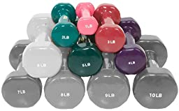 Hausmann Vinyl Coated Dumbbells - Set of 5 - 1 lb to 5 lbs