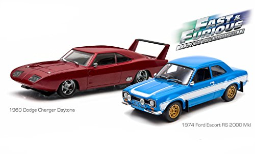 Greenlight 1969 Dodge Charger Daytona and 1974 Ford Escort RS 2000 Mkl The Fast and The Furious Movie Diorama Set 1/43 by 86251