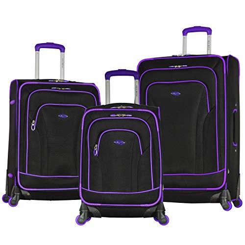 Olympia Santa Fe 3-Piece Exp. Luggage Set, BLACK+PURPLE