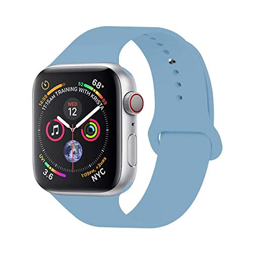 YC YANCH Compatible with for Apple Watch Band 38mm 40mm, Soft Silicone Sport Band Replacement Wrist Strap Compatible with for iWatch Series 4/3/2/1, Nike+,Sport,Edition, S/M, Cornflower