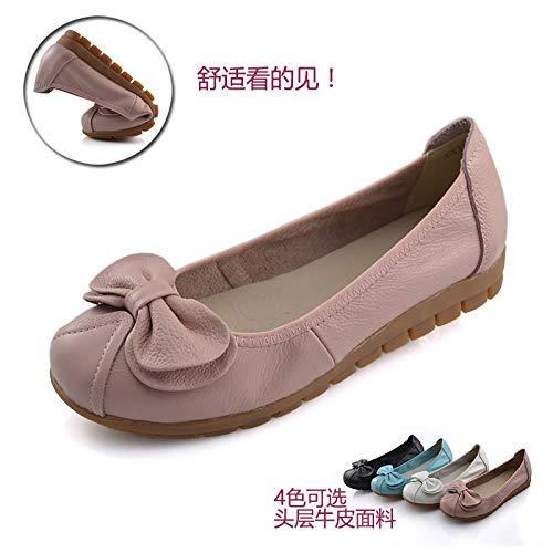 1235 blue Women's bow fashion Light flat leather casual bottom shoes FLYRCX single soft shoes OZwqw