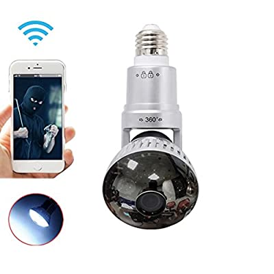 Wireless WiFi Light Bulb Camera IP Network Surveillance Camera 960P Plug & Play, Two-way Audio, IR Night Vision for Smart Phone ,Tablets,Computers