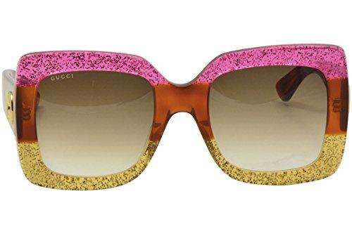 89e2e95c85a Gucci 0083 002 Fuchsia Havana Gold Glitter GG0083S Sunglasses - Buy ...