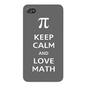 """Apple Iphone Custom Case 4 4s Snap on - """"Keep Calm and Love Math"""