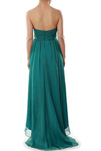 MACloth Women Strapless Chiffon Hi Lo Bridesmaid Dress Wedding Party Formal Gown Coral