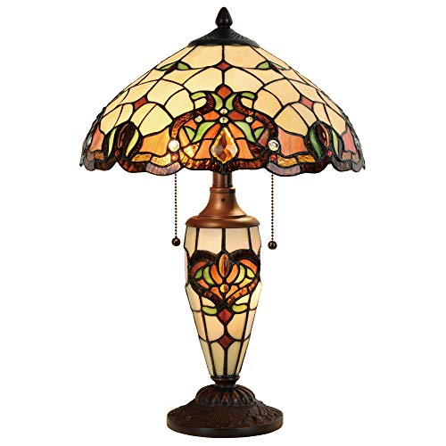 Cloud Mountain Tiffany Style Table Lamp 14 Inch Lampshade Victorian Double Lit Desk Lamp Stained Glass