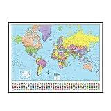 World Advanced Political Mounted Framed Wall Map Frame Color: Black