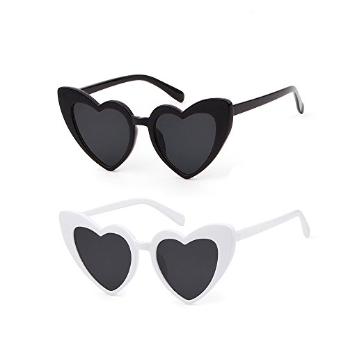 Love Heart Shaped Sunglasses Women Vintage Cat Eye Mod Style Retro Glasses (whiteblack, 53) -