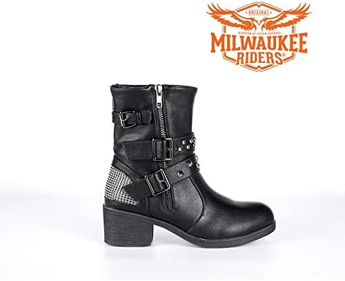Milwaukee Riders Motorcycle Womens Zippered Two buckles Studed Harley Boots
