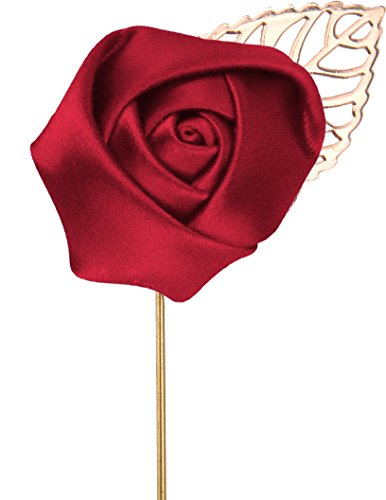 - Flairs New York Gentleman's Essentials Premium Handmade Flower Lapel Pin Boutonniere (Pack of 1 Pin, Crimson Red [Rose Gold Leaf])