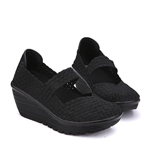 Breathable Summer Womens Toe Sandals Platform DAYOUT Mary Janes Heel Black Weave Closed Shoes Wedges Sandals qBEdwxp