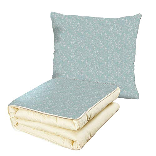 iPrint Quilt Dual-Use Pillow Abstract Ocean Inspired Hand Drawn Wave Pattern Lines and Swirls Soft Toned Palette Multifunctional Air-Conditioning Quilt Baby Blue ()