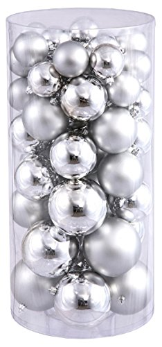 Silver Christmas Matte Ornaments (Vickerman Shiny/Matte Ball Ornaments, Includes 50 Per Box, 1.5