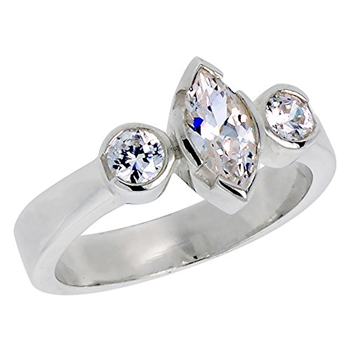 - Sterling Silver Cubic Zirconia 3-Stone Engagement Marquis Cut Ring 0.4 ct Center, size 7
