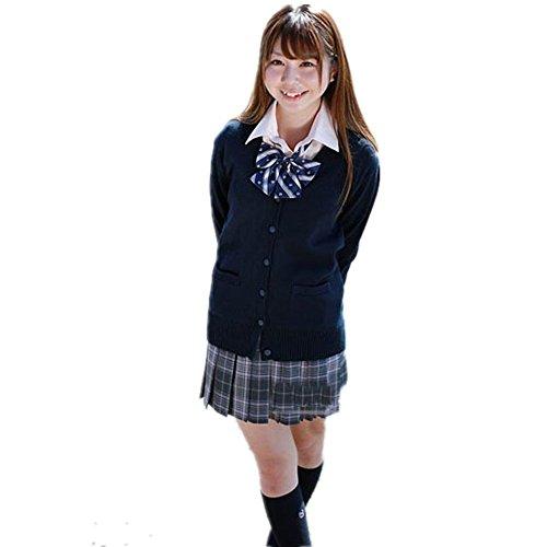 happy-JP レディース カーディガン セーター 学生服 制服 スクールセーター Vネック コットン