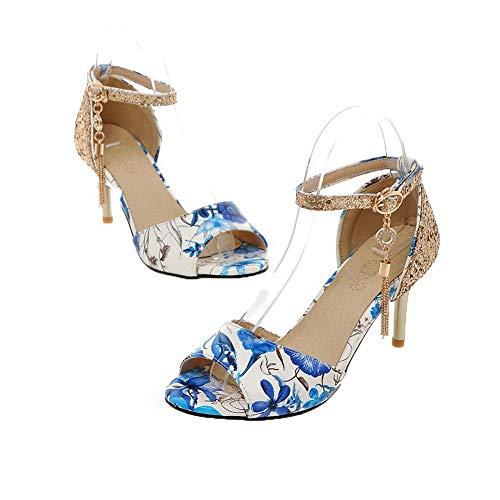 Sandales Femme TSFLH007473 Mélangées d'orteil Couleurs à Ouverture Bleu Talon AalarDom Correct ARaq8dRw