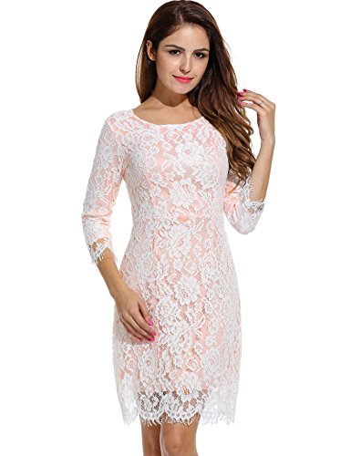 ANGVNS Lace Dress Long Sleeve O Neck Bridesmaid Short Dress - Bridesmaid Womens Long Sleeve
