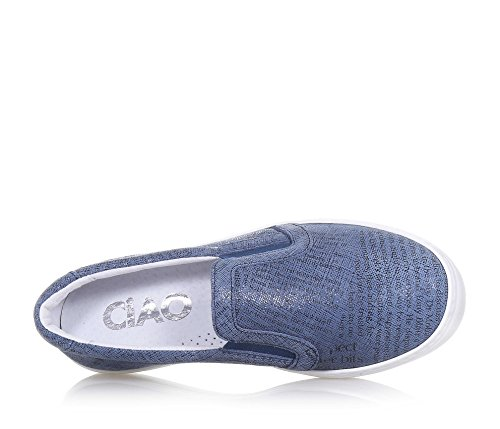 CIAO BIMBI - Slip on bleue en cuir, soignée dans tous ses détails,garçon, garçons