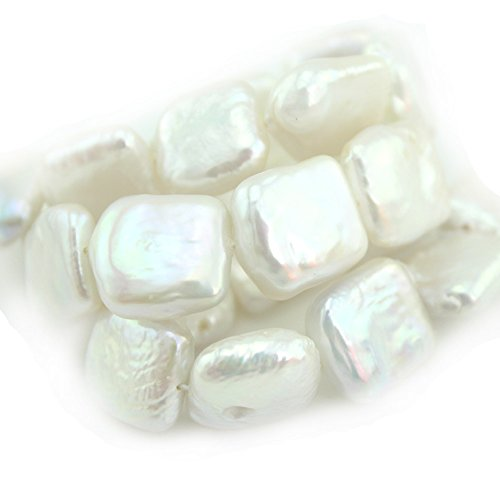 SR BGSJ Jewelry Making Natural 10-12mm White Keshi Square Baroque Freshwater Pearl Jewelry Beads Strand 15