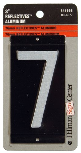 The Hillman Group 841668 3-Inch Aluminum Reflective Mailbox Number 7