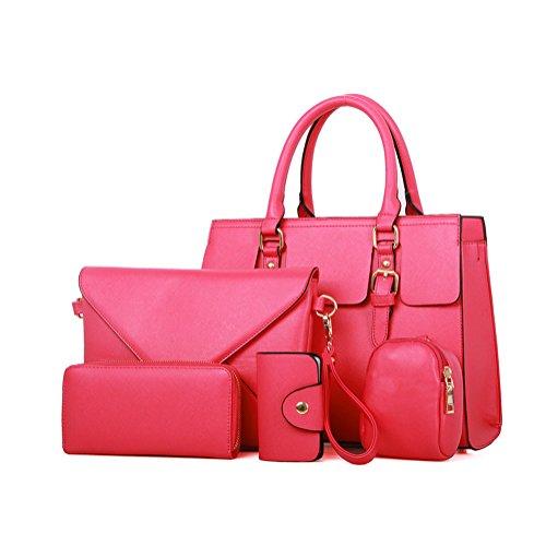 YipGrace Mujeres Hombro Messenger Bag Wallet Cinco Piezas Sets rosa