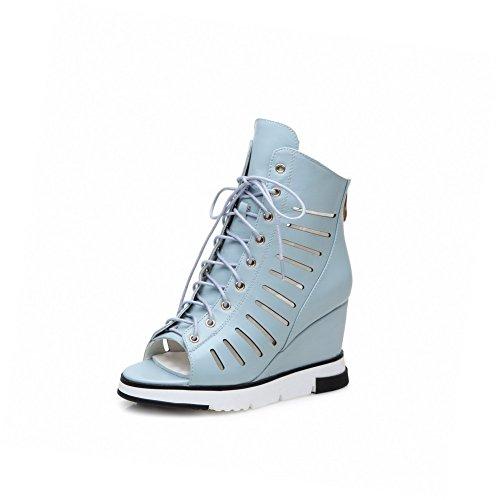 Zipper Blue Women's Sandals Toe Open Solid AllhqFashion Heels High qTXAfC77wx