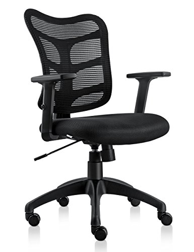 NKV Ergonomic Office Chair Computer Mesh Chair Task Chair Swivel Desk Chair with Adjustable Armrests (Black) by NKV