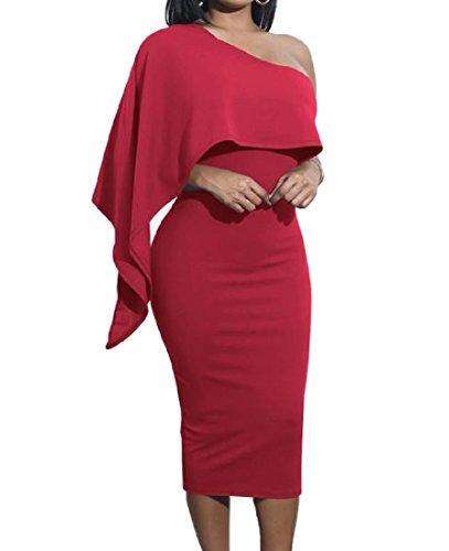 Solido Rosso Vino Vestito Colore Fodero Di donne Sottile Coolred Spalla Matita 5qZH8H