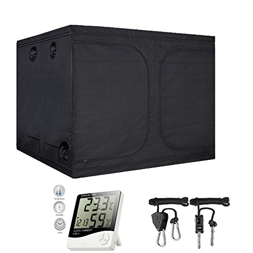 $262.10 indoor grow tent set up TopoGrow 96″X96″X80″ Mylar Hydroponic Grow Tent Kit W/Digital Hygrometer Thermometer Humidity Monitor+2 PCS/1 Pair Rope Grow Light Hangers Ratchet Indoor Plant Growing (96″X96″X80″) 2019