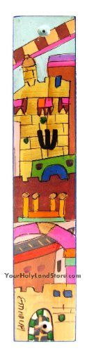 Mezuzah Case with Hand Painted Old City Jerusalem - Wood - Jewish Home Gift