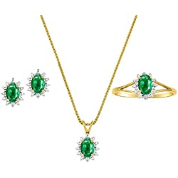 May Birthstone Set - Ring, Earrings & Necklace Emerald in 14K Yellow Gold or 14K White Gold